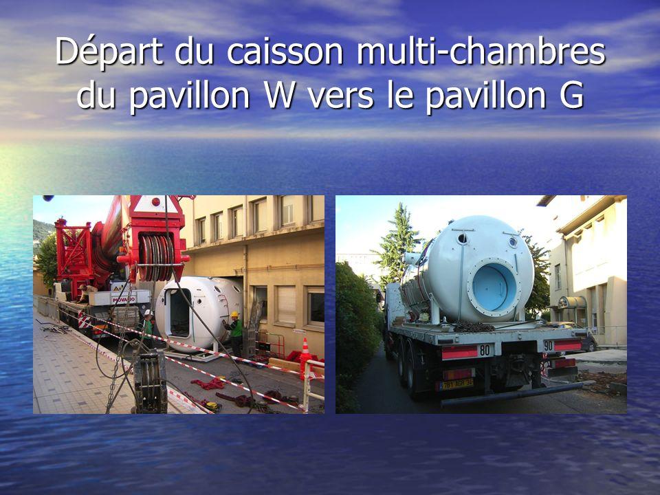 Départ du caisson multi-chambres du pavillon W vers le pavillon G
