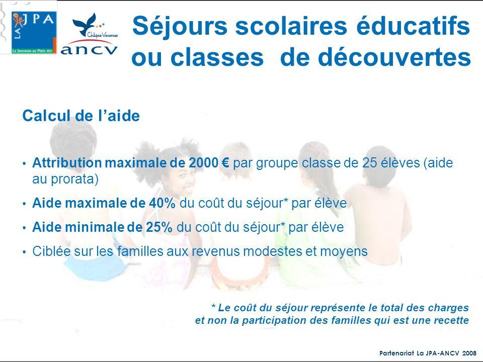 Partenariat La JPA-ANCV 2008 Calcul de laide Attribution maximale de 2000 par groupe classe de 25 élèves (aide au prorata) Aide maximale de 40% du coû