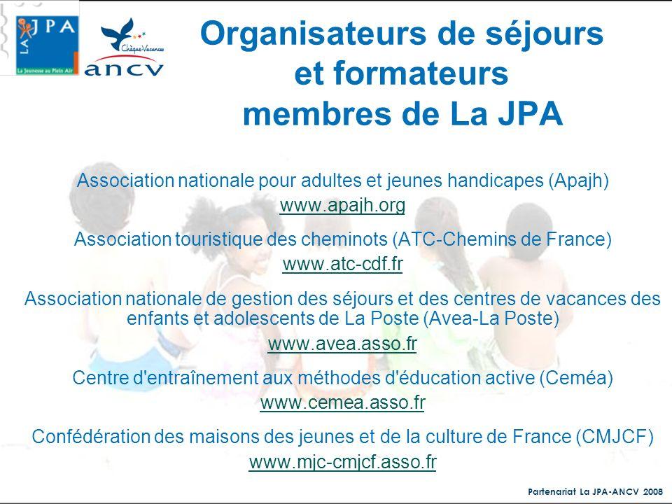 Partenariat La JPA-ANCV 2008 Association nationale pour adultes et jeunes handicapes (Apajh) www.apajh.org Association touristique des cheminots (ATC-