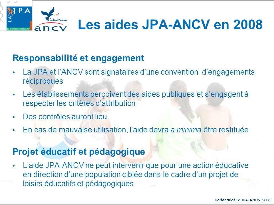 Partenariat La JPA-ANCV 2008 Responsabilité et engagement La JPA et lANCV sont signataires dune convention dengagements réciproques Les établissements