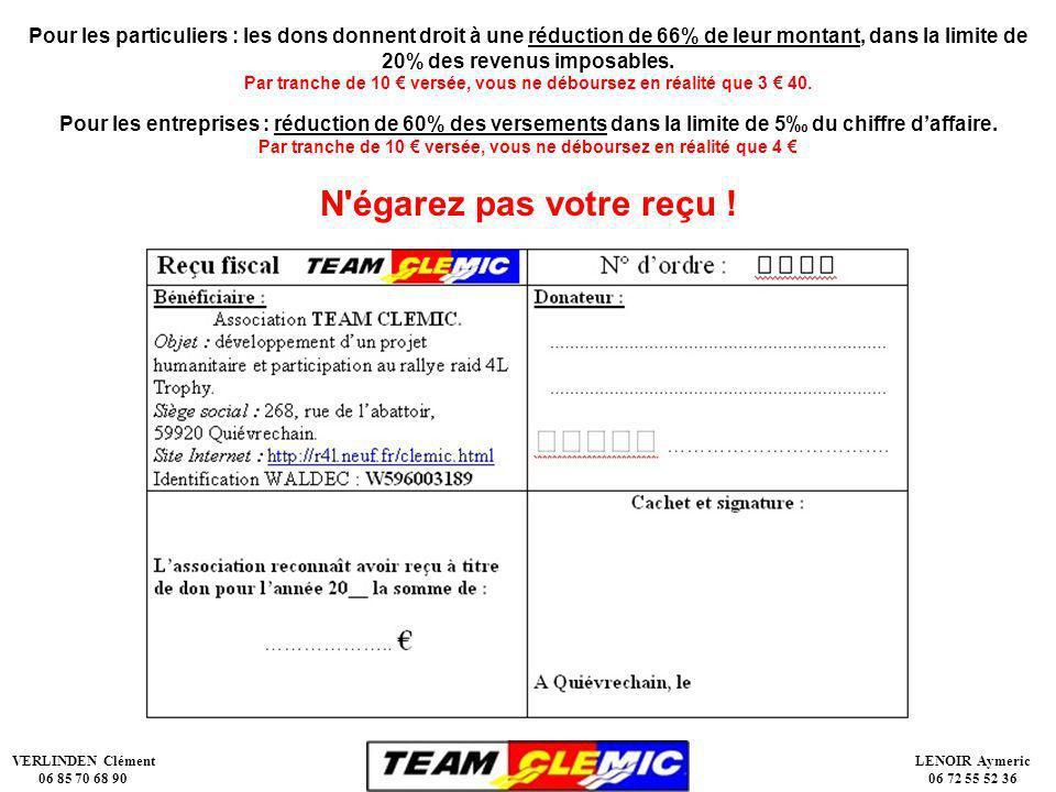 VERLINDEN Clément 06 85 70 68 90 LENOIR Aymeric 06 72 55 52 36 Pour les particuliers : les dons donnent droit à une réduction de 66% de leur montant, dans la limite de 20% des revenus imposables.