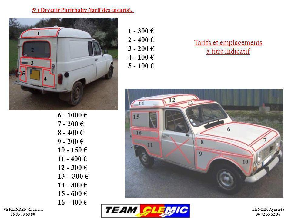 VERLINDEN Clément 06 85 70 68 90 LENOIR Aymeric 06 72 55 52 36 5°) Devenir Partenaire (tarif des encarts).