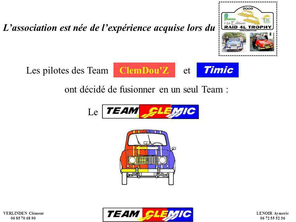 VERLINDEN Clément 06 85 70 68 90 LENOIR Aymeric 06 72 55 52 36 Lassociation est née de lexpérience acquise lors du Les pilotes des TeamClemDou Zet Timic ont décidé de fusionner en un seul Team : Le