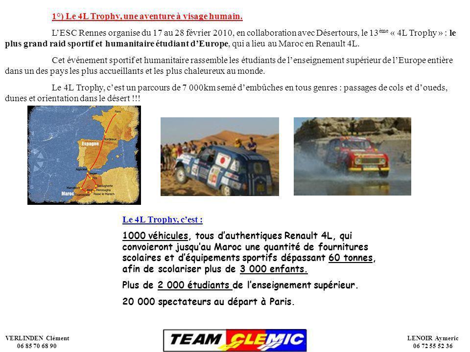 VERLINDEN Clément 06 85 70 68 90 LENOIR Aymeric 06 72 55 52 36 1°) Le 4L Trophy, une aventure à visage humain.