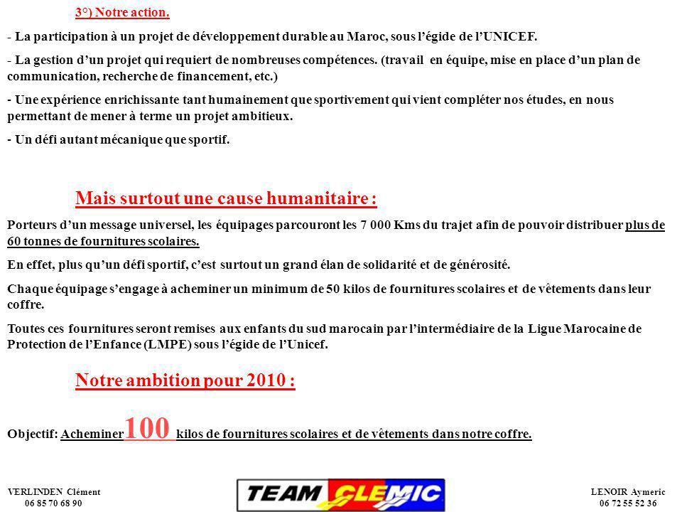 VERLINDEN Clément 06 85 70 68 90 LENOIR Aymeric 06 72 55 52 36 3°) Notre action.