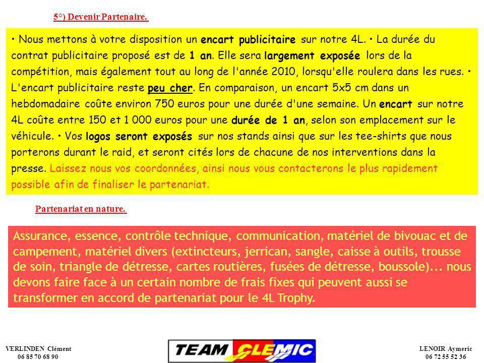 VERLINDEN Clément 06 85 70 68 90 LENOIR Aymeric 06 72 55 52 36 Nous mettons à votre disposition un encart publicitaire sur notre 4L.