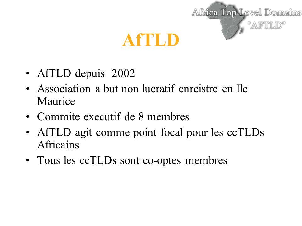 AfTLD AfTLD depuis 2002 Association a but non lucratif enreistre en Ile Maurice Commite executif de 8 membres AfTLD agit comme point focal pour les ccTLDs Africains Tous les ccTLDs sont co-optes membres