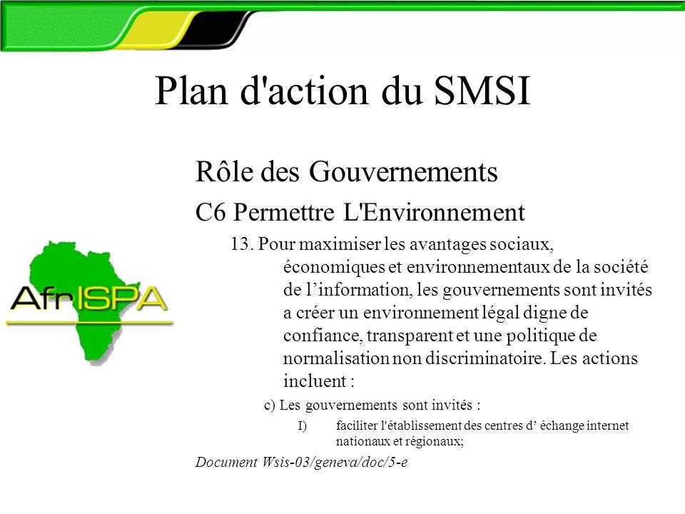 Plan d'action du SMSI Rôle des Gouvernements C6 Permettre L'Environnement 13. Pour maximiser les avantages sociaux, économiques et environnementaux de
