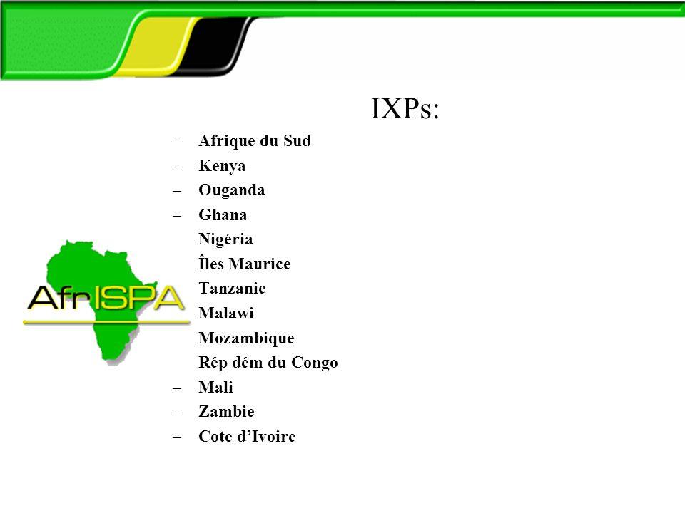 AfrISPA IXPs: –Afrique du Sud –Kenya –Ouganda –Ghana –Nigéria –Îles Maurice –Tanzanie –Malawi –Mozambique –Rép dém du Congo –Mali –Zambie –Cote dIvoir