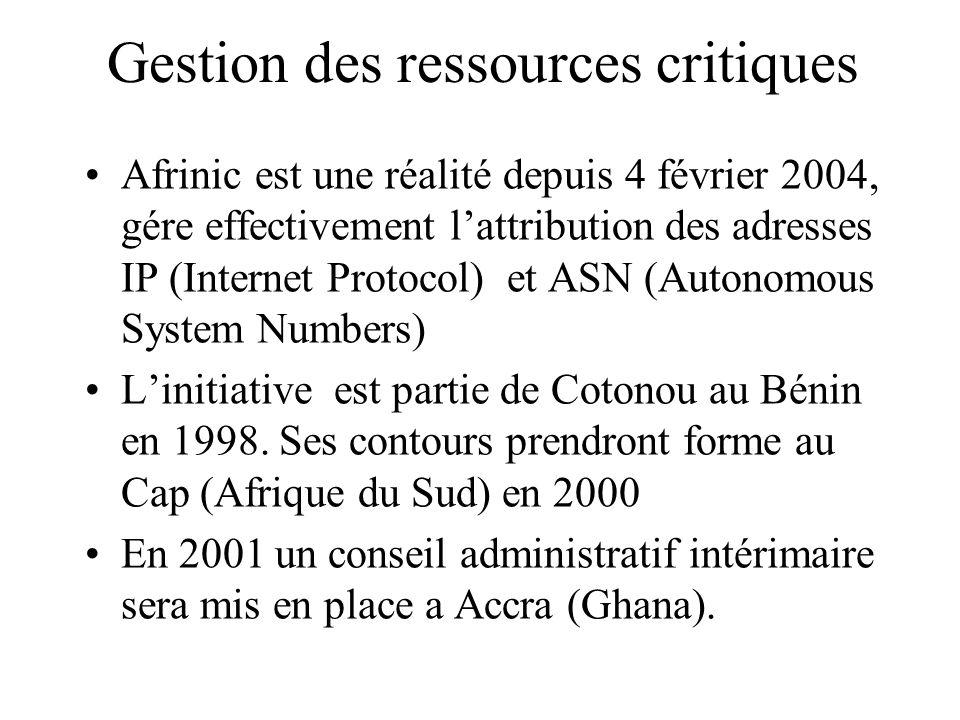 Gestion des ressources critiques Afrinic est une réalité depuis 4 février 2004, gére effectivement lattribution des adresses IP (Internet Protocol) et