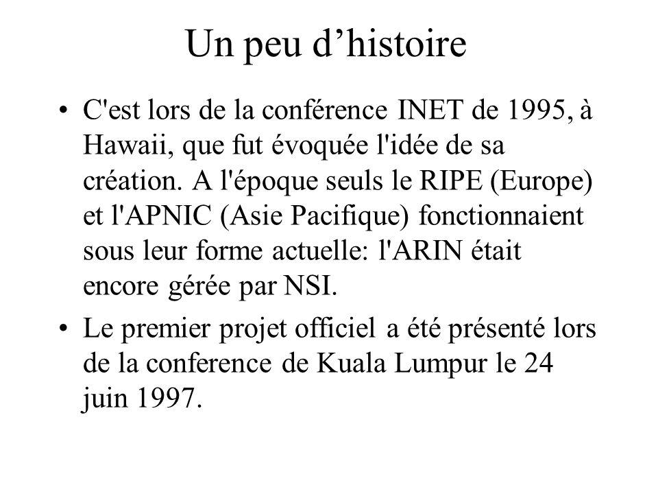 Un peu dhistoire C'est lors de la conférence INET de 1995, à Hawaii, que fut évoquée l'idée de sa création. A l'époque seuls le RIPE (Europe) et l'APN