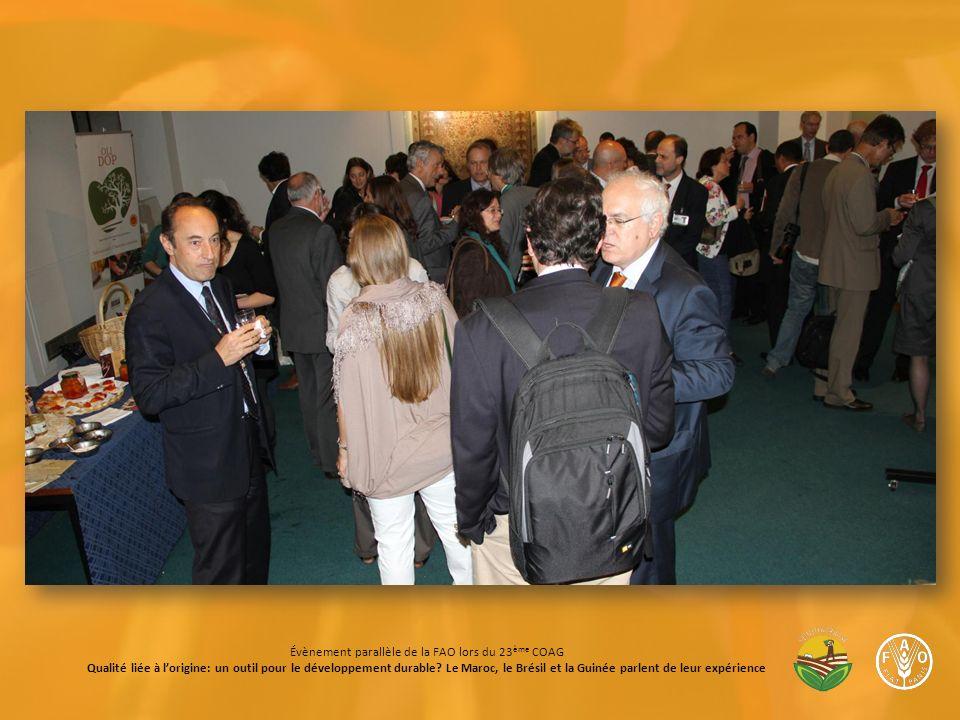 Évènement parallèle de la FAO lors du 23 ème COAG Qualité liée à lorigine: un outil pour le développement durable.