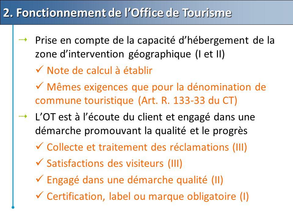 Prise en compte de la capacité dhébergement de la zone dintervention géographique (I et II) Note de calcul à établir Mêmes exigences que pour la dénomination de commune touristique (Art.