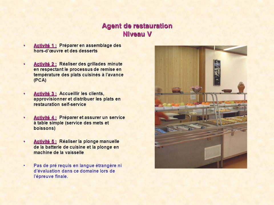 Agent de restauration Niveau V Activité 1 :Activité 1 : Préparer en assemblage des hors-dœuvre et des desserts Activité 2 :Activité 2 : Réaliser des g