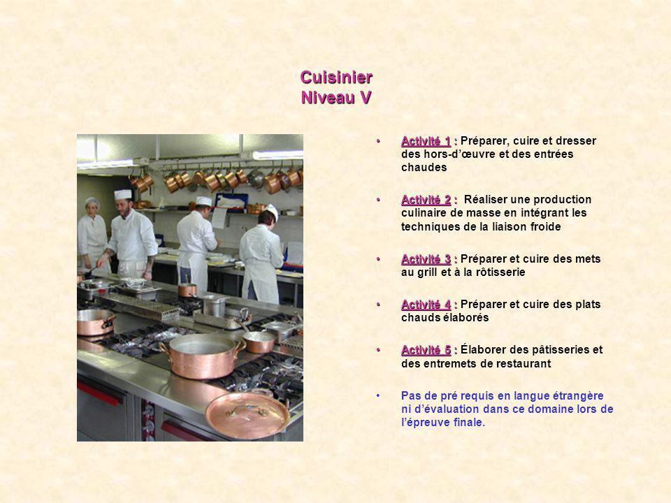 Cuisinier Niveau V Activité 1 :Activité 1 : Préparer, cuire et dresser des hors-dœuvre et des entrées chaudes Activité 2 :Activité 2 : Réaliser une pr