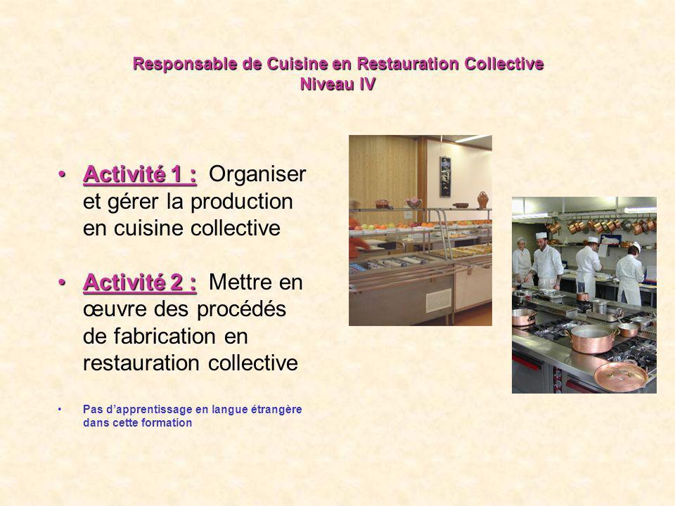 Responsable de Cuisine en Restauration Collective Niveau IV Activité 1 :Activité 1 : Organiser et gérer la production en cuisine collective Activité 2