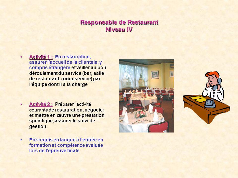 Responsable de Restaurant Niveau IV Activité 1 :Activité 1 : En restauration, assurer laccueil de la clientèle, y compris étrangère et veiller au bon