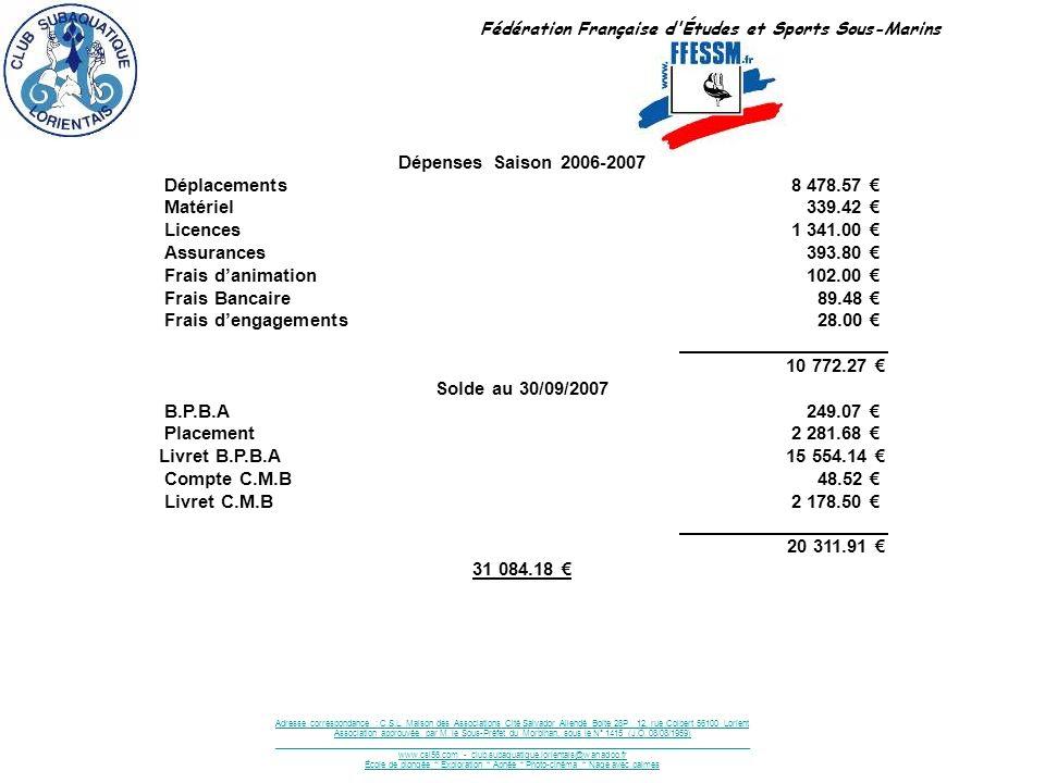 Fédération Française d'Études et Sports Sous-Marins Adresse correspondance : C.S.L. Maison des Associations Cité Salvador Allendé Boite 28P 12, rue Co