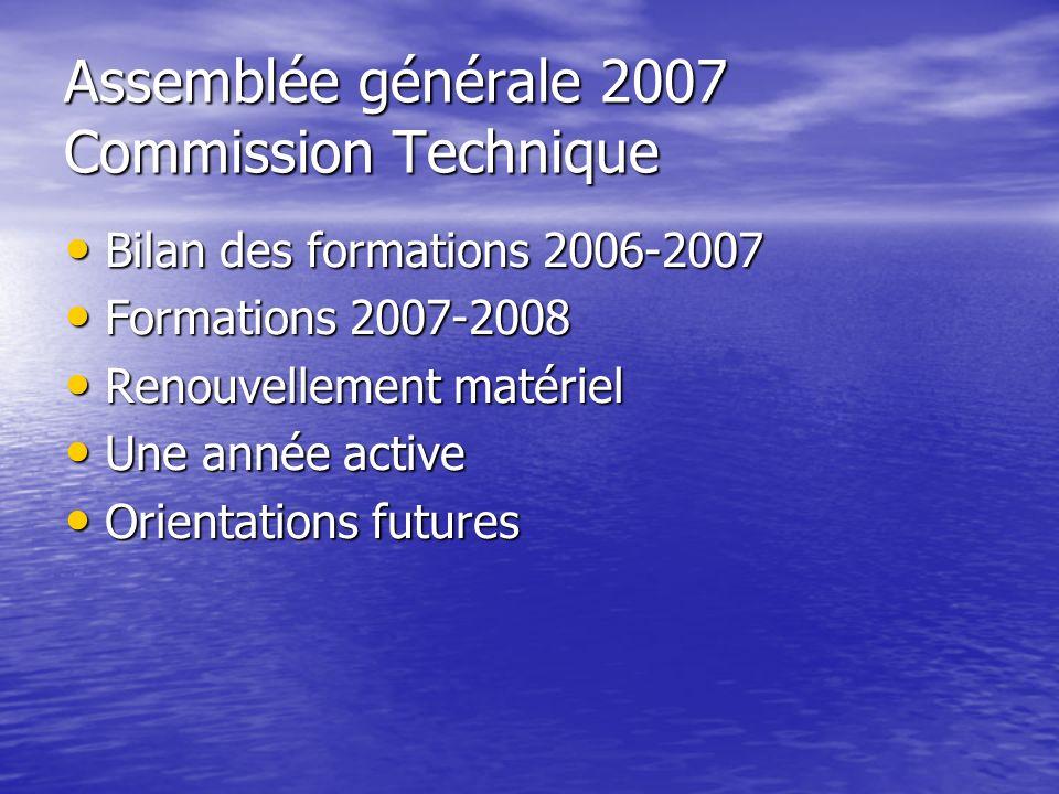 Assemblée générale 2007 Commission Technique Bilan des formations 2006-2007 Bilan des formations 2006-2007 Formations 2007-2008 Formations 2007-2008 R