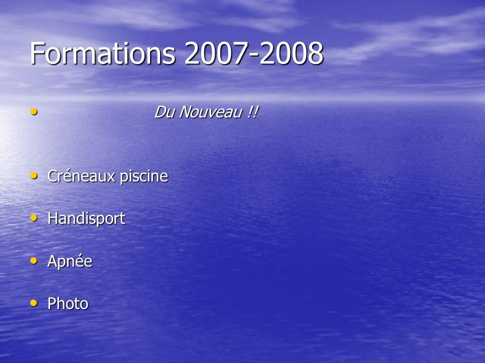 Formations 2007-2008 Du Nouveau !! Du Nouveau !! Créneaux piscine Créneaux piscine Handisport Handisport Apnée Apnée Photo Photo