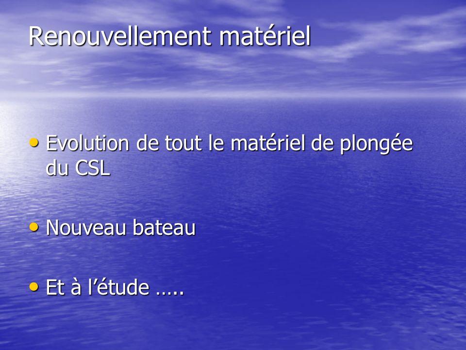 Renouvellement matériel Evolution de tout le matériel de plongée du CSL Evolution de tout le matériel de plongée du CSL Nouveau bateau Nouveau bateau Et à létude …..