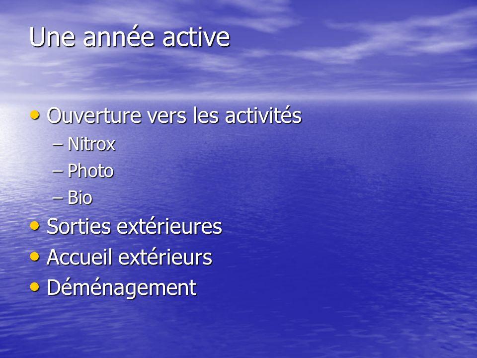 Une année active Ouverture vers les activités Ouverture vers les activités –Nitrox –Photo –Bio Sorties extérieures Sorties extérieures Accueil extérieurs Accueil extérieurs Déménagement Déménagement