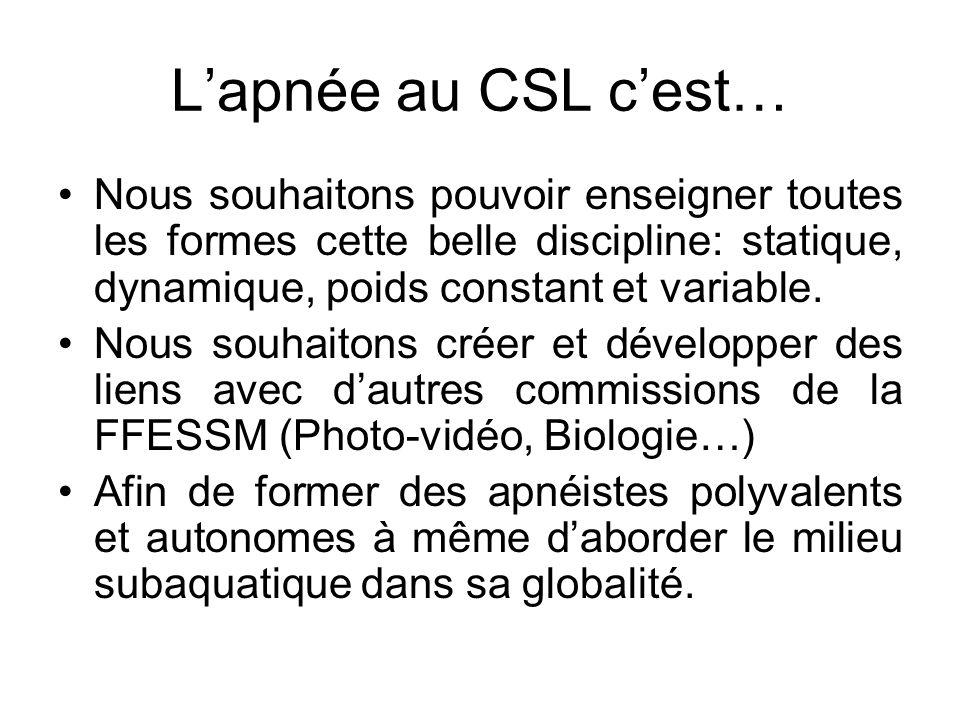 Lapnée au CSL cest… Nous souhaitons pouvoir enseigner toutes les formes cette belle discipline: statique, dynamique, poids constant et variable. Nous