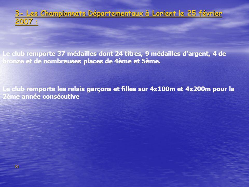53 3- Les Championnats Départementaux à Lorient le 25 février 2007 : Le club remporte 37 médailles dont 24 titres, 9 médailles dargent, 4 de bronze et