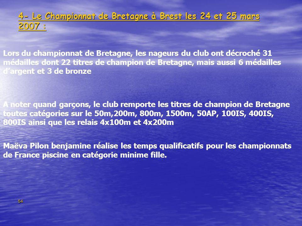 54 4- Le Championnat de Bretagne à Brest les 24 et 25 mars 2007 : Lors du championnat de Bretagne, les nageurs du club ont décroché 31 médailles dont 22 titres de champion de Bretagne, mais aussi 6 médailles dargent et 3 de bronze A noter quand garçons, le club remporte les titres de champion de Bretagne toutes catégories sur le 50m,200m, 800m, 1500m, 50AP, 100IS, 400IS, 800IS ainsi que les relais 4x100m et 4x200m Maëva Pilon benjamine réalise les temps qualificatifs pour les championnats de France piscine en catégorie minime fille.