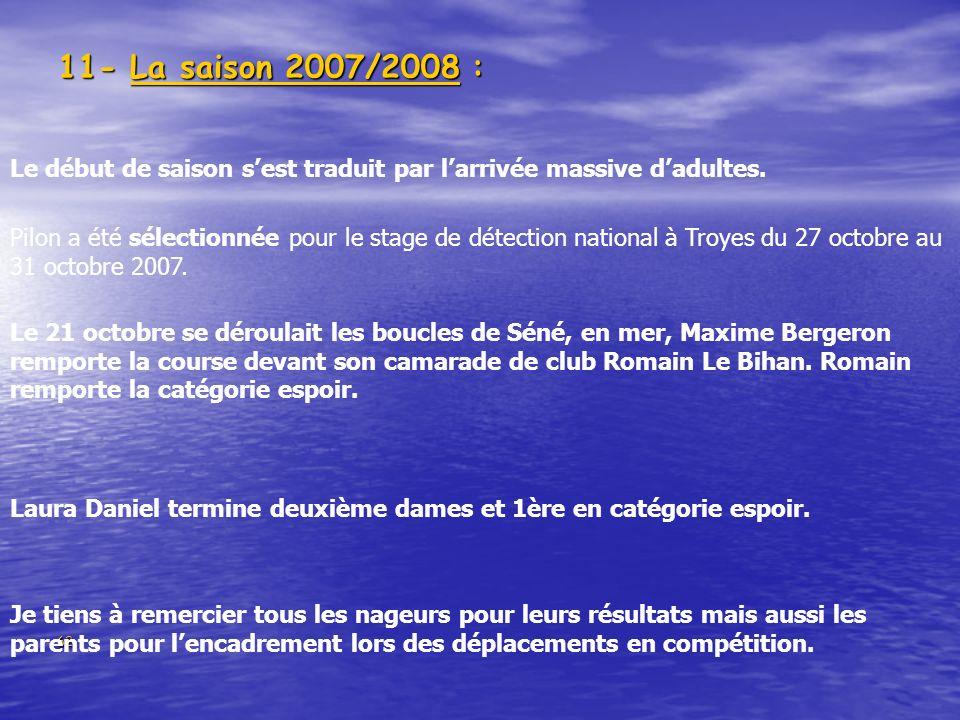 62 11- La saison 2007/2008 : Le début de saison sest traduit par larrivée massive dadultes. Pilon a été sélectionnée pour le stage de détection nation