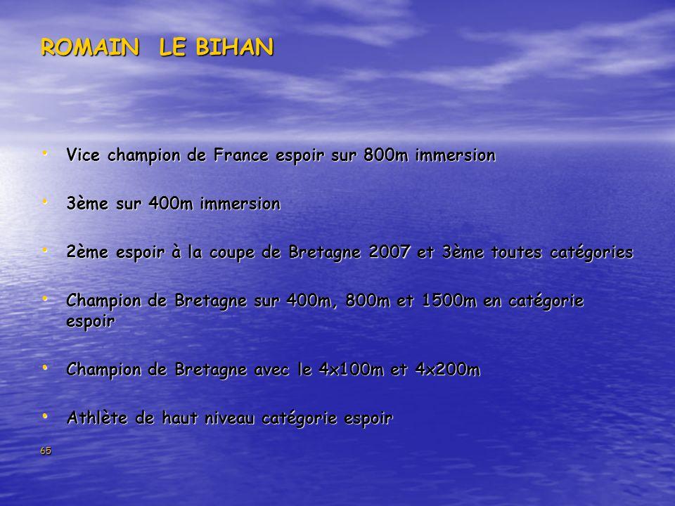 65 ROMAIN LE BIHAN Vice champion de France espoir sur 800m immersion Vice champion de France espoir sur 800m immersion 3ème sur 400m immersion 3ème sur 400m immersion 2ème espoir à la coupe de Bretagne 2007 et 3ème toutes catégories 2ème espoir à la coupe de Bretagne 2007 et 3ème toutes catégories Champion de Bretagne sur 400m, 800m et 1500m en catégorie espoir Champion de Bretagne sur 400m, 800m et 1500m en catégorie espoir Champion de Bretagne avec le 4x100m et 4x200m Champion de Bretagne avec le 4x100m et 4x200m Athlète de haut niveau catégorie espoir Athlète de haut niveau catégorie espoir