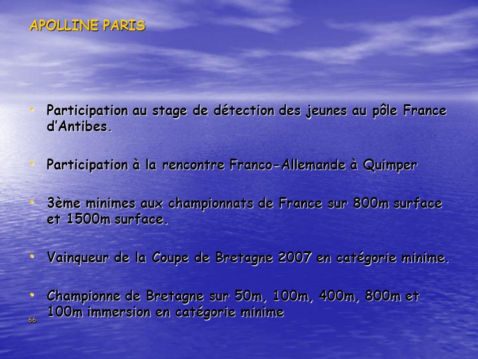66 APOLLINE PARIS Participation au stage de détection des jeunes au pôle France dAntibes. Participation au stage de détection des jeunes au pôle Franc