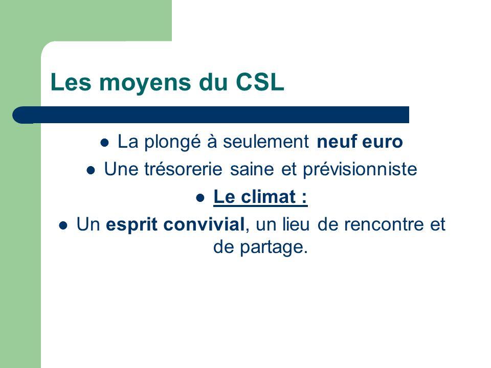 Les moyens du CSL La plongé à seulement neuf euro Une trésorerie saine et prévisionniste Le climat : Un esprit convivial, un lieu de rencontre et de partage.
