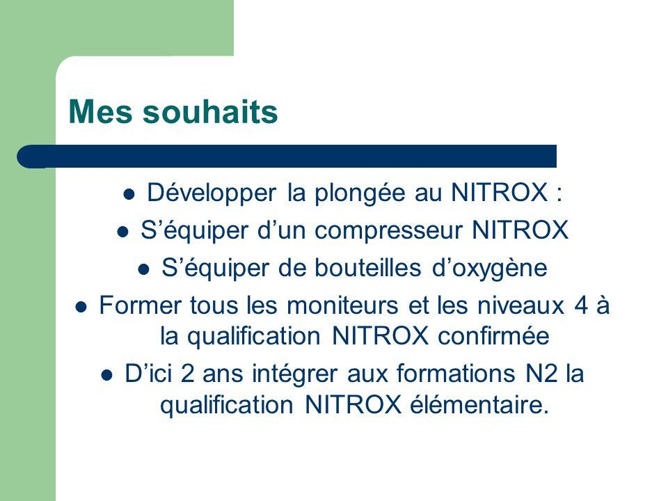 Mes souhaits Développer la plongée au NITROX : Séquiper dun compresseur NITROX Séquiper de bouteilles doxygène Former tous les moniteurs et les niveaux 4 à la qualification NITROX confirmée Dici 2 ans intégrer aux formations N2 la qualification NITROX élémentaire.