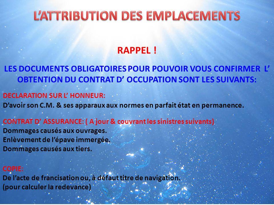 RAPPEL .DECLARATION SUR L HONNEUR: Davoir son C.M.