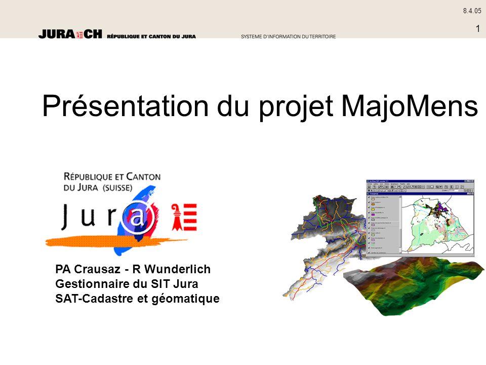 8.4.05 1 PA Crausaz - R Wunderlich Gestionnaire du SIT Jura SAT-Cadastre et géomatique Présentation du projet MajoMens