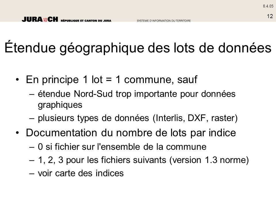 8.4.05 12 Étendue géographique des lots de données En principe 1 lot = 1 commune, sauf –étendue Nord-Sud trop importante pour données graphiques –plus