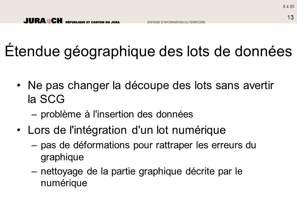 8.4.05 13 Ne pas changer la découpe des lots sans avertir la SCG –problème à l'insertion des données Lors de l'intégration d'un lot numérique –pas de