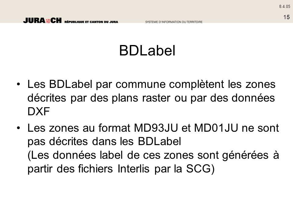 8.4.05 15 BDLabel Les BDLabel par commune complètent les zones décrites par des plans raster ou par des données DXF Les zones au format MD93JU et MD01