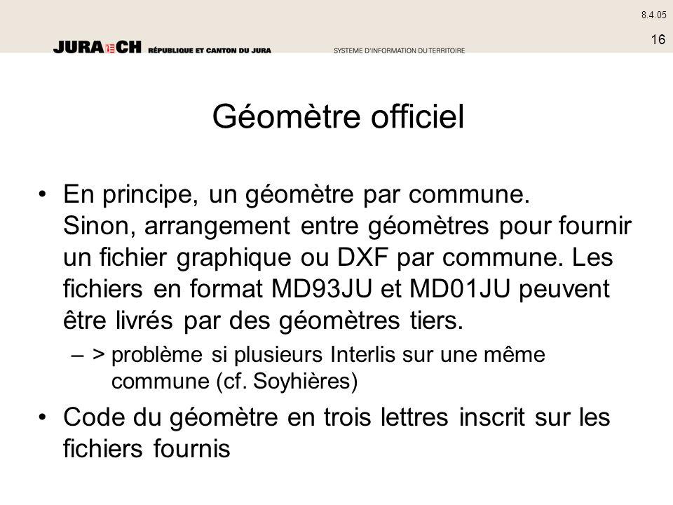 8.4.05 16 Géomètre officiel En principe, un géomètre par commune. Sinon, arrangement entre géomètres pour fournir un fichier graphique ou DXF par comm