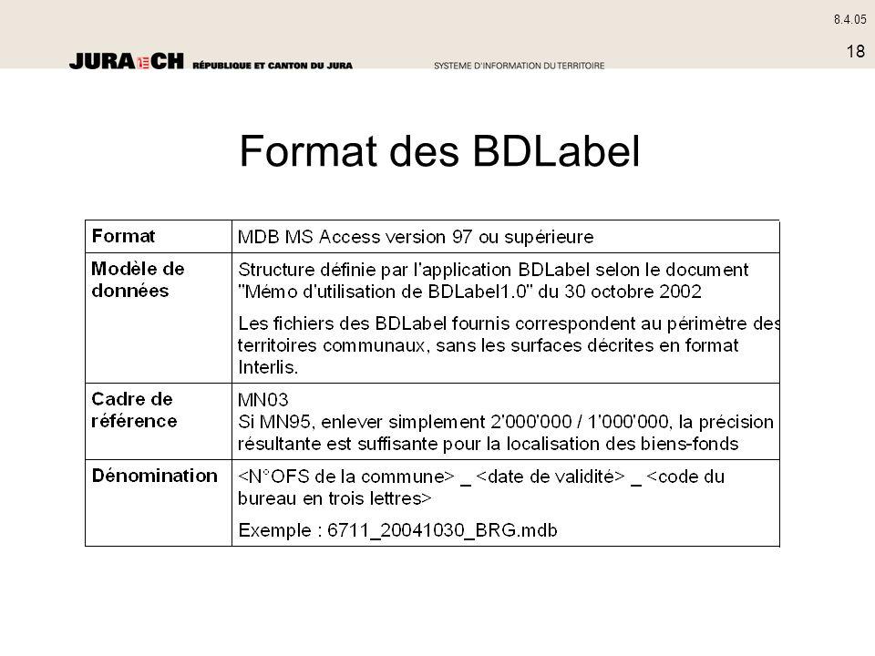 8.4.05 18 Format des BDLabel