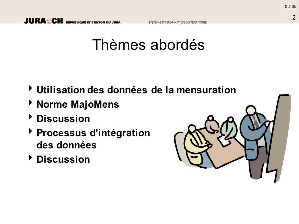 8.4.05 2 Thèmes abordés Utilisation des données de la mensuration Norme MajoMens Discussion Processus d'intégration des données Discussion
