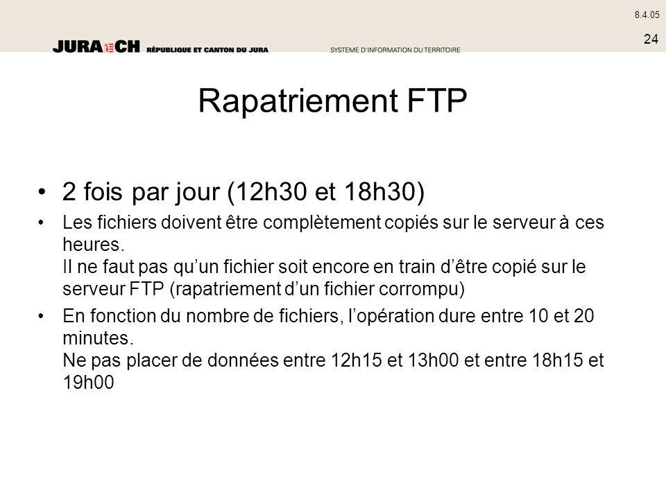 8.4.05 24 Rapatriement FTP 2 fois par jour (12h30 et 18h30) Les fichiers doivent être complètement copiés sur le serveur à ces heures. Il ne faut pas