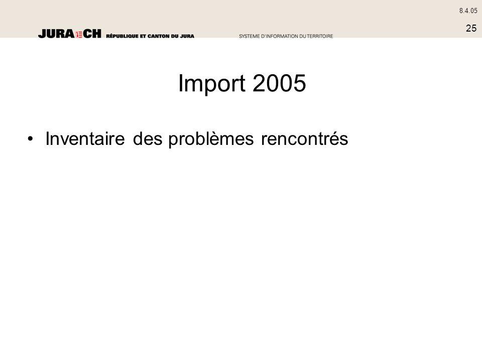 8.4.05 25 Import 2005 Inventaire des problèmes rencontrés