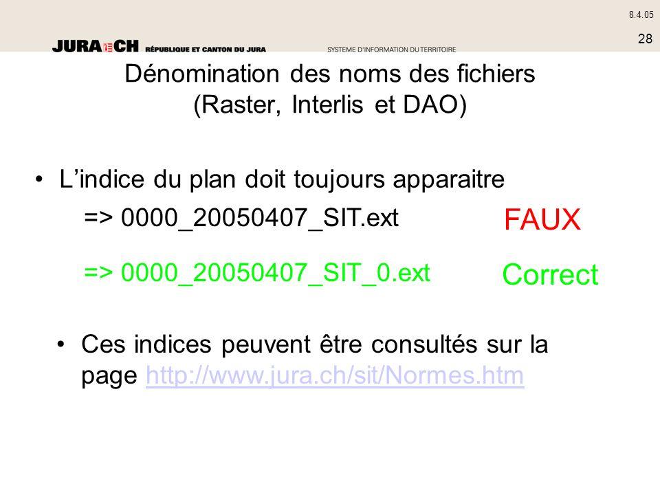 8.4.05 28 Dénomination des noms des fichiers (Raster, Interlis et DAO) Lindice du plan doit toujours apparaitre => 0000_20050407_SIT.ext => 0000_20050