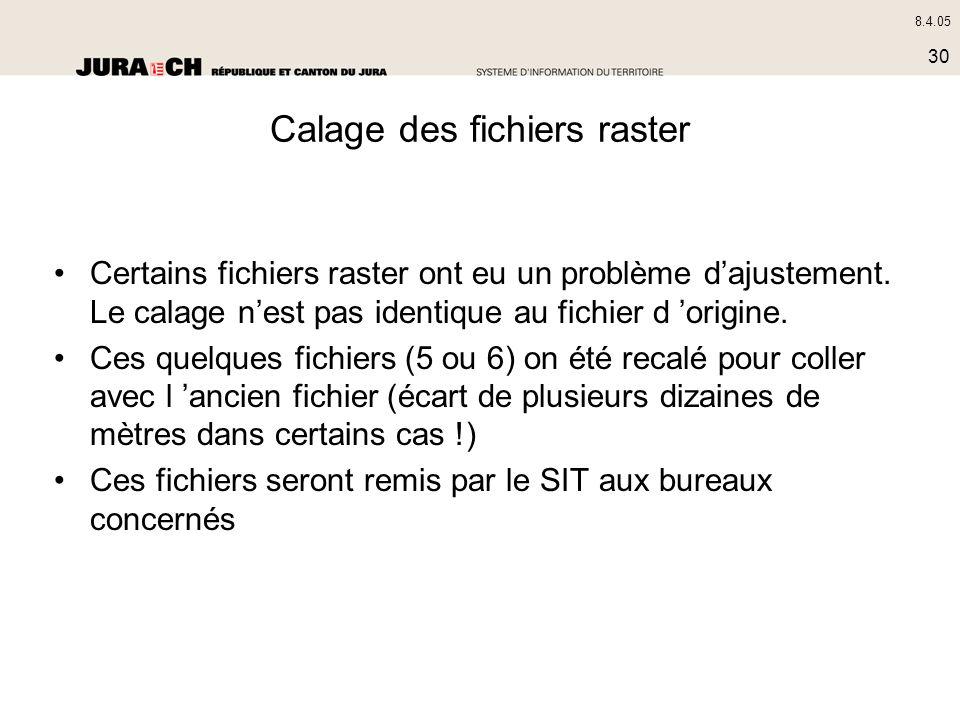 8.4.05 30 Calage des fichiers raster Certains fichiers raster ont eu un problème dajustement. Le calage nest pas identique au fichier d origine. Ces q
