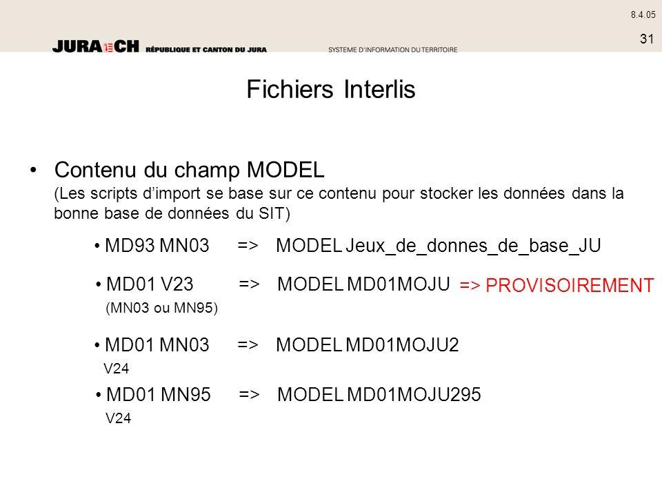 8.4.05 31 Fichiers Interlis Contenu du champ MODEL (Les scripts dimport se base sur ce contenu pour stocker les données dans la bonne base de données