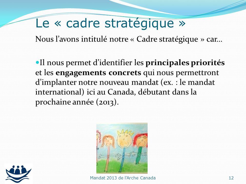 Nous lavons intitulé notre « Cadre stratégique » car… Il nous permet didentifier les principales priorités et les engagements concrets qui nous permet