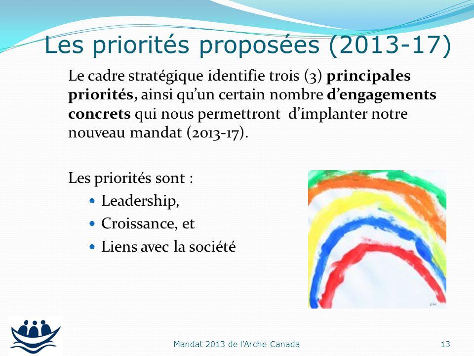 Le cadre stratégique identifie trois (3) principales priorités, ainsi quun certain nombre dengagements concrets qui nous permettront dimplanter notre