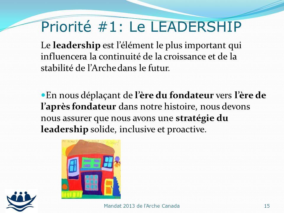 Le leadership est lélément le plus important qui influencera la continuité de la croissance et de la stabilité de lArche dans le futur. En nous déplaç